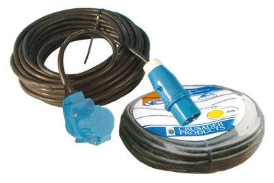 Kabel 25m. CEE incl winkelstekker(haakse koppeling) en verloop