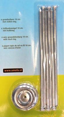 Grondzeilpen met stalen ring 18cm. 6 stuks